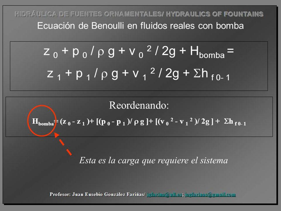 Ecuación de Benoulli en fluidos reales con bomba