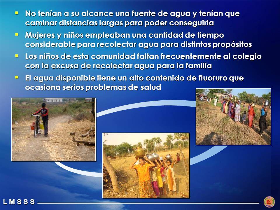 No tenían a su alcance una fuente de agua y tenían que caminar distancias largas para poder conseguirla