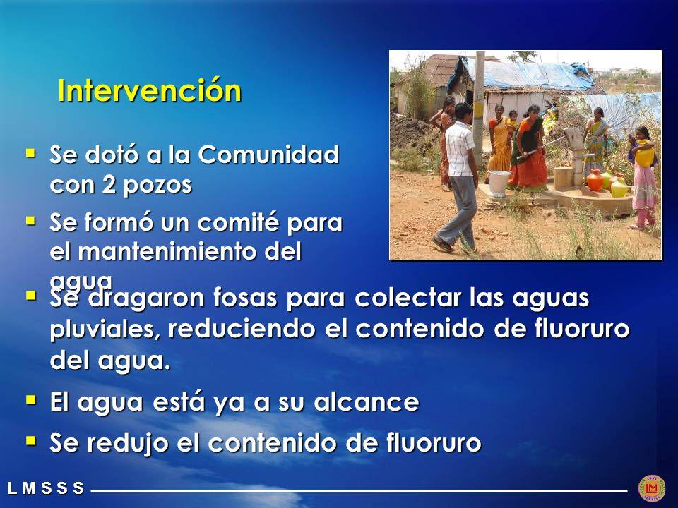 Intervención Se dotó a la Comunidad con 2 pozos. Se formó un comité para el mantenimiento del agua.