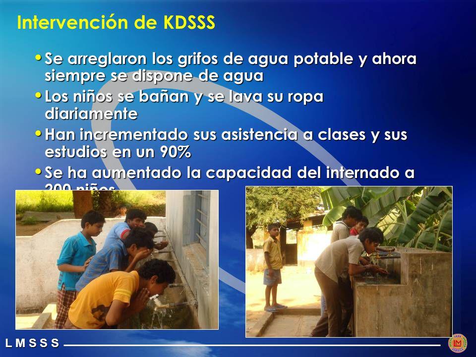 Intervención de KDSSS Se arreglaron los grifos de agua potable y ahora siempre se dispone de agua. Los niños se bañan y se lava su ropa diariamente.