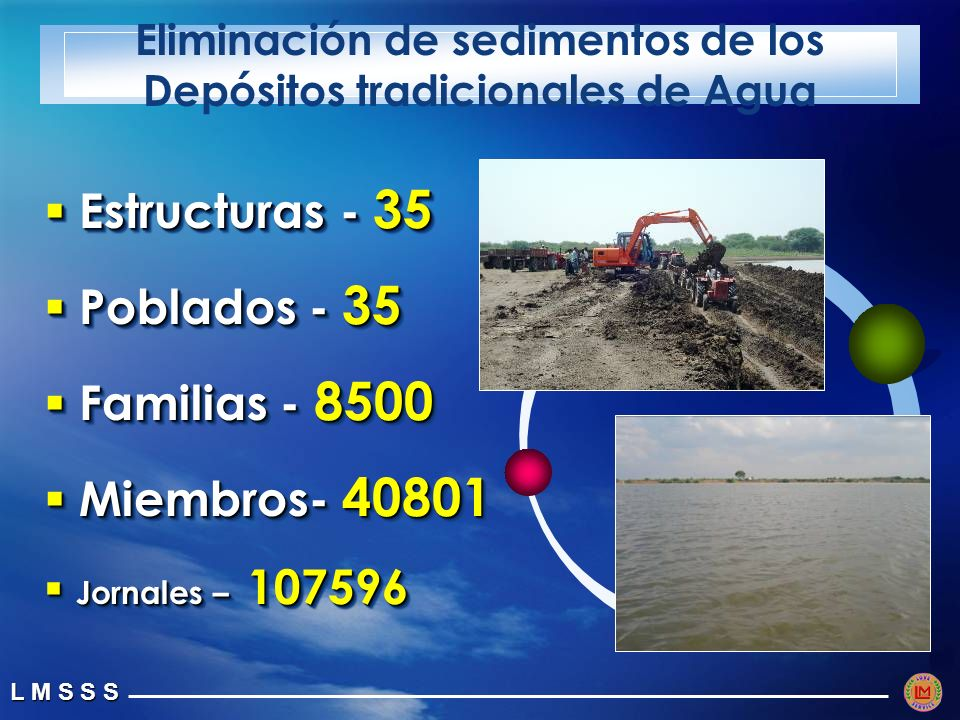 Eliminación de sedimentos de los Depósitos tradicionales de Agua