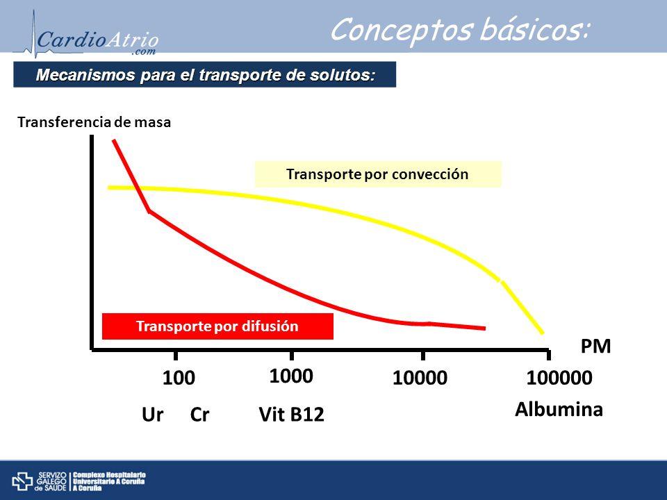 Conceptos básicos: PM 100 1000 10000 100000 Albumina Ur Cr Vit B12
