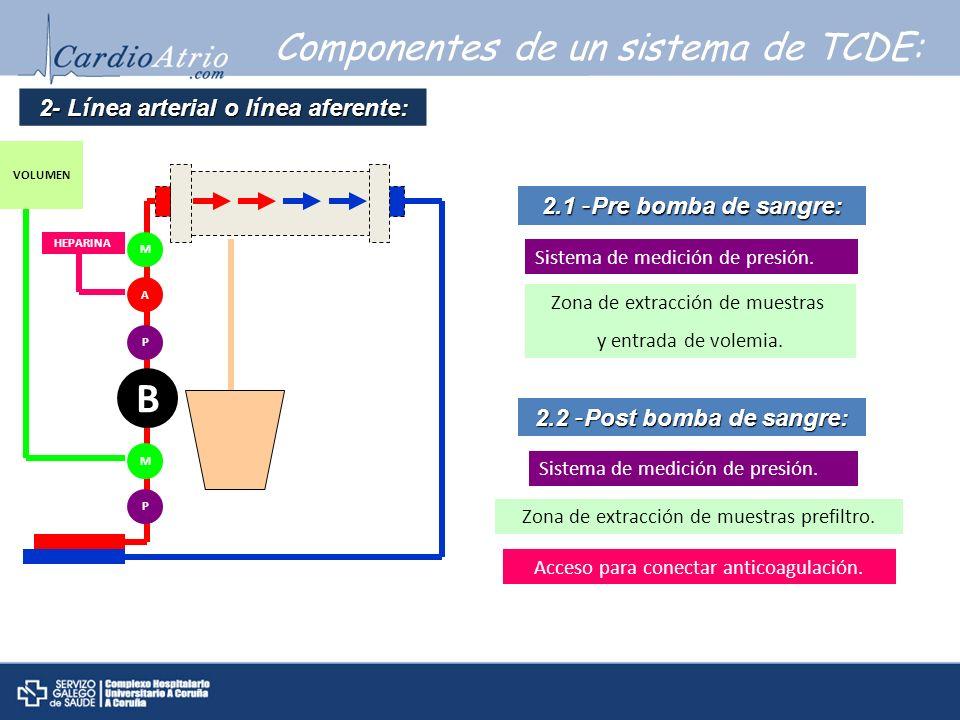 2- Línea arterial o línea aferente:
