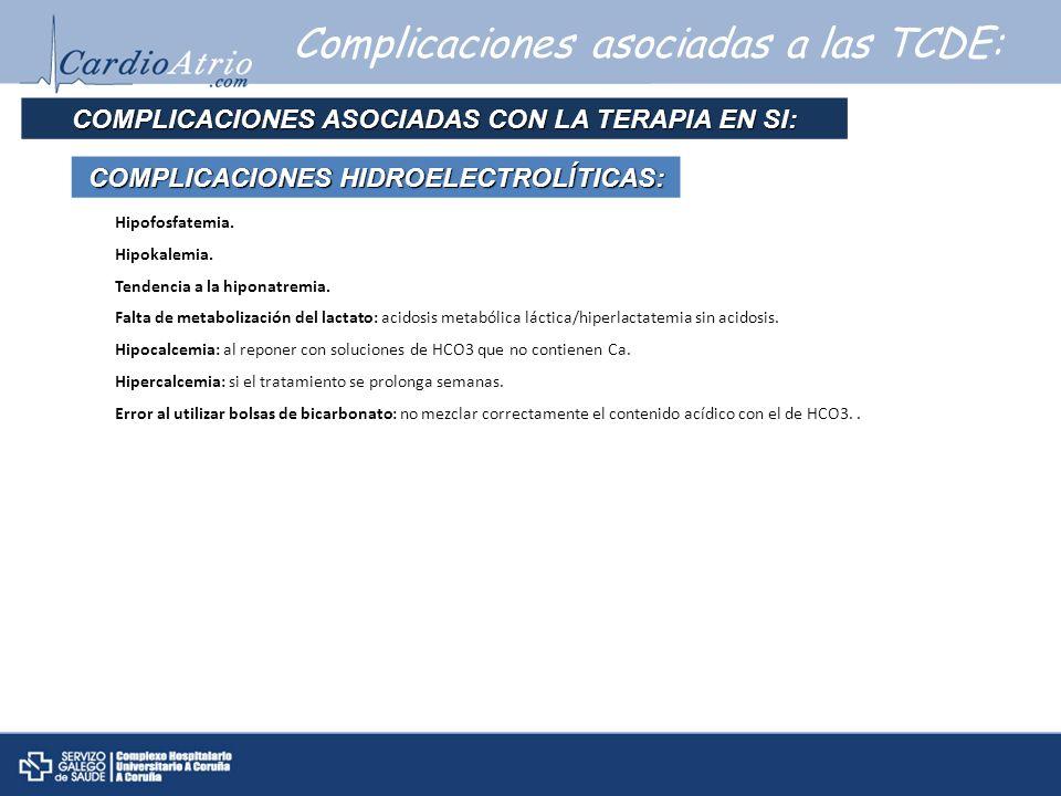 Complicaciones asociadas a las TCDE: