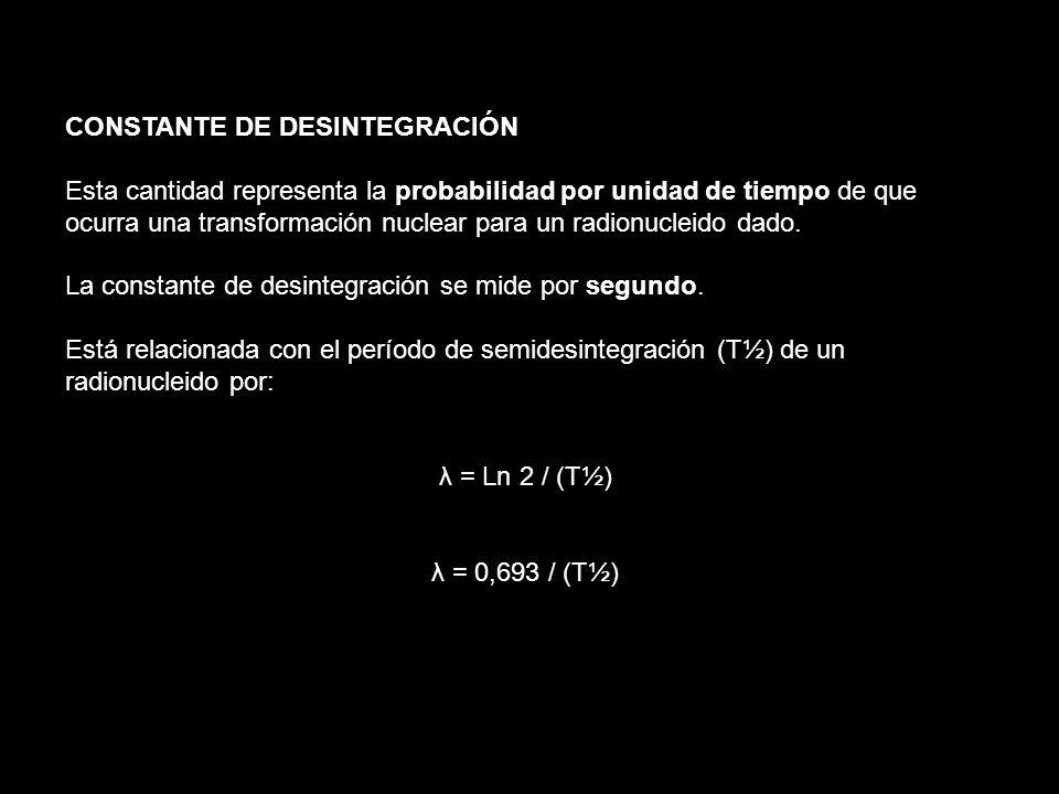 CONSTANTE DE DESINTEGRACIÓN