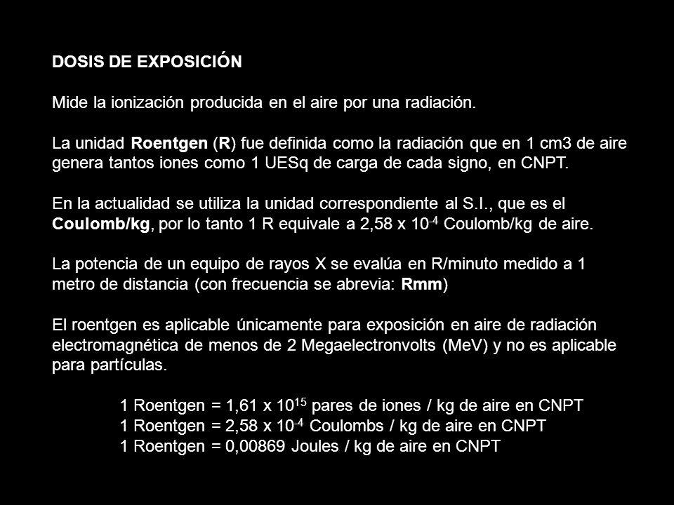 DOSIS DE EXPOSICIÓN Mide la ionización producida en el aire por una radiación.
