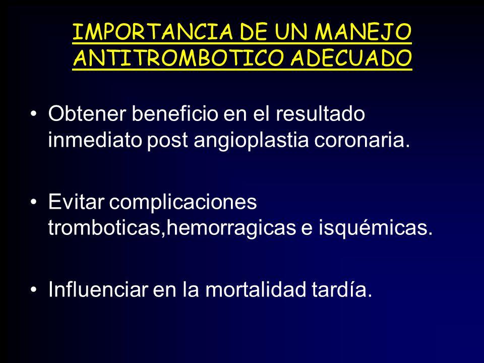 IMPORTANCIA DE UN MANEJO ANTITROMBOTICO ADECUADO