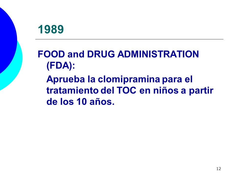1989 FOOD and DRUG ADMINISTRATION (FDA):