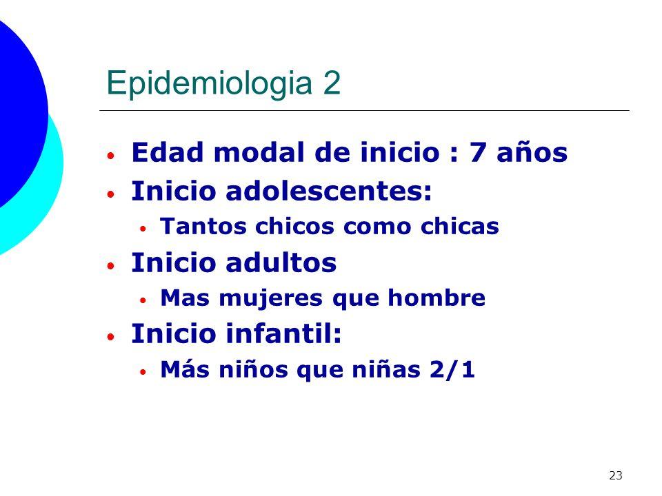 Epidemiologia 2 Edad modal de inicio : 7 años Inicio adolescentes: