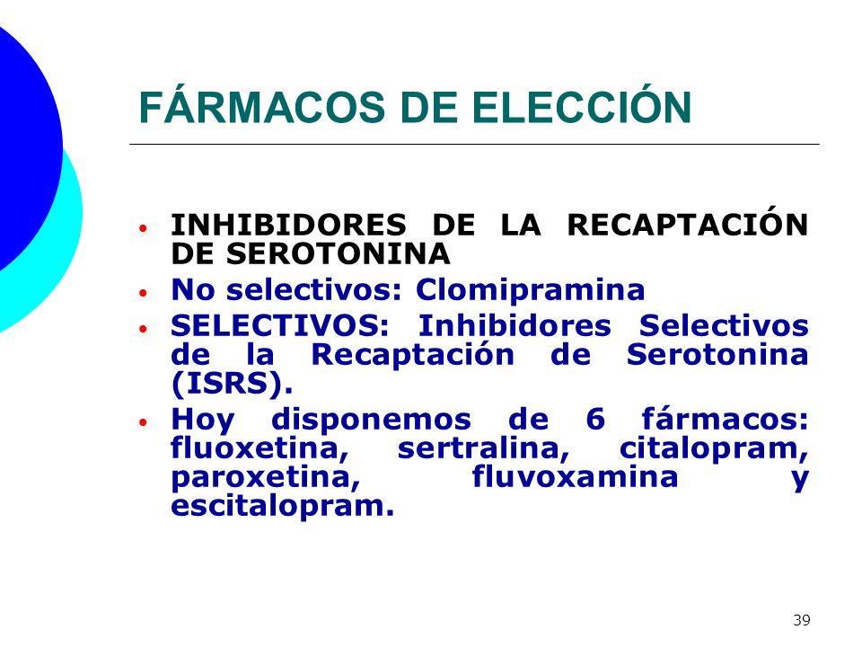 FÁRMACOS DE ELECCIÓN INHIBIDORES DE LA RECAPTACIÓN DE SEROTONINA