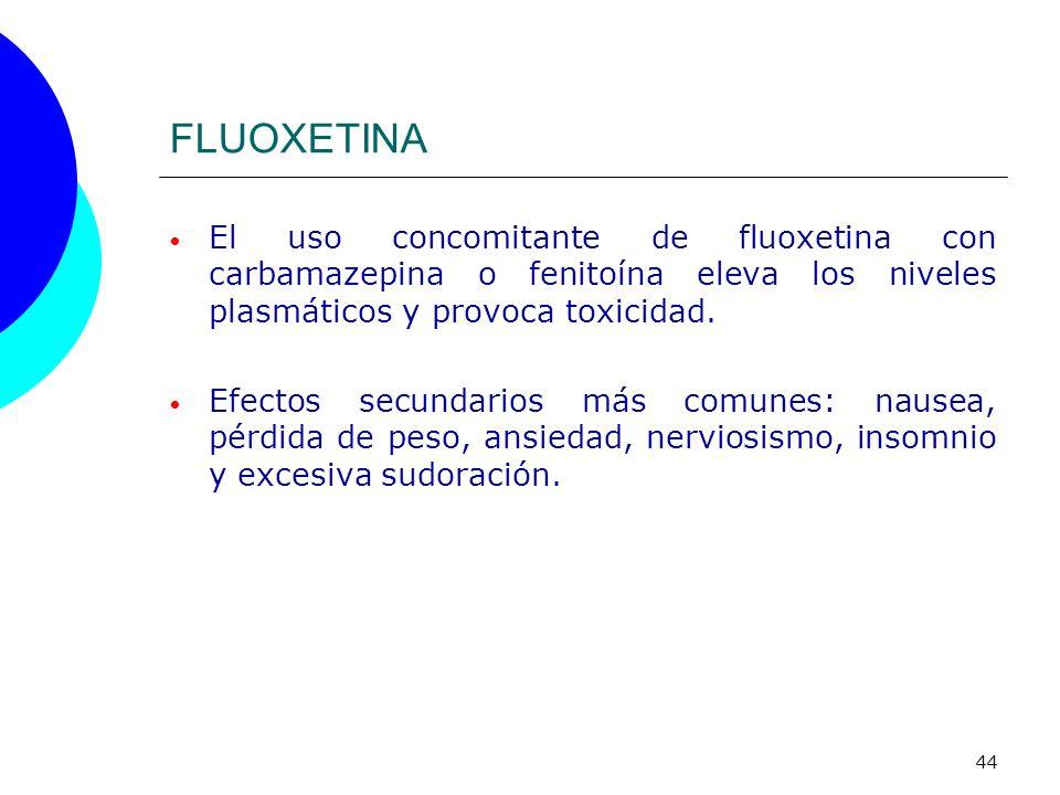 FLUOXETINA El uso concomitante de fluoxetina con carbamazepina o fenitoína eleva los niveles plasmáticos y provoca toxicidad.