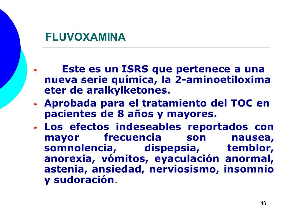 FLUVOXAMINA Este es un ISRS que pertenece a una nueva serie química, la 2-aminoetiloxima eter de aralkylketones.