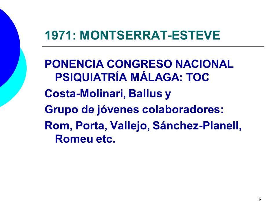 1971: MONTSERRAT-ESTEVE PONENCIA CONGRESO NACIONAL PSIQUIATRÍA MÁLAGA: TOC. Costa-Molinari, Ballus y.