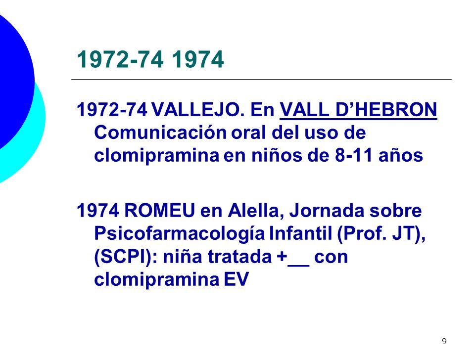 1972-74 1974 1972-74 VALLEJO. En VALL D'HEBRON Comunicación oral del uso de clomipramina en niños de 8-11 años.
