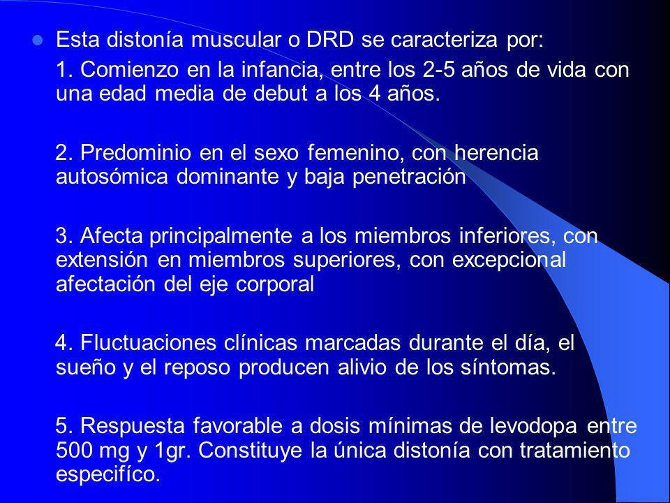 Esta distonía muscular o DRD se caracteriza por: