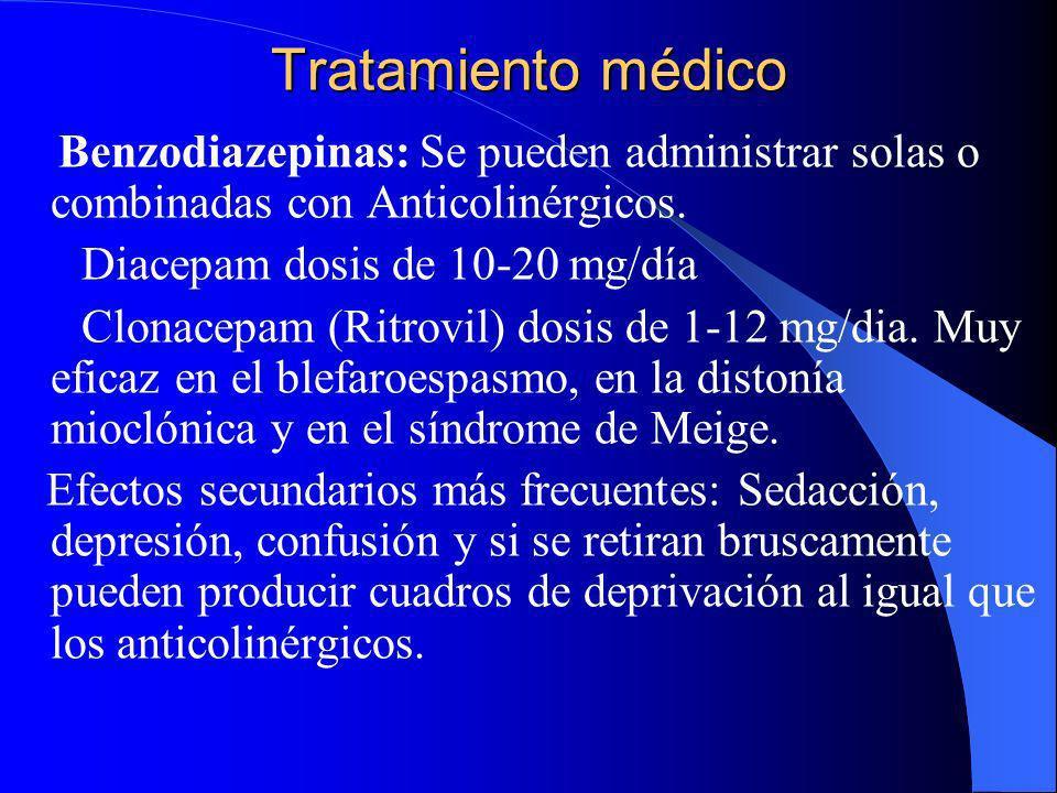 Tratamiento médico Benzodiazepinas: Se pueden administrar solas o combinadas con Anticolinérgicos. Diacepam dosis de 10-20 mg/día.