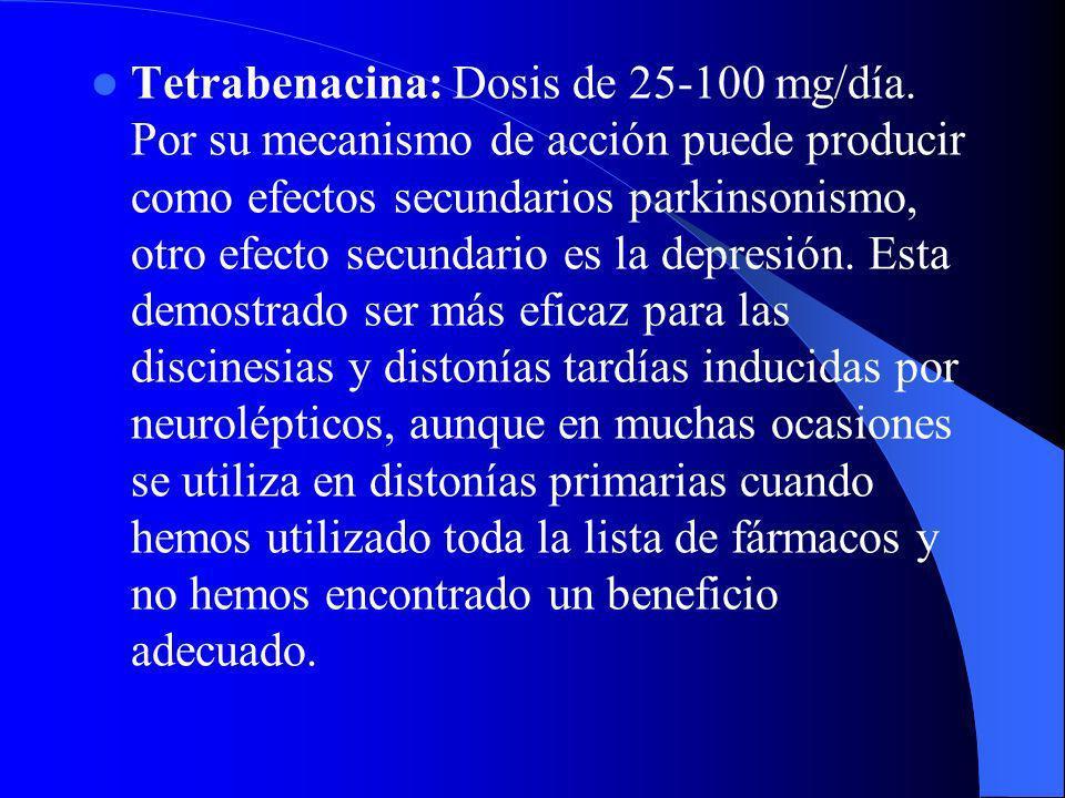 Tetrabenacina: Dosis de 25-100 mg/día