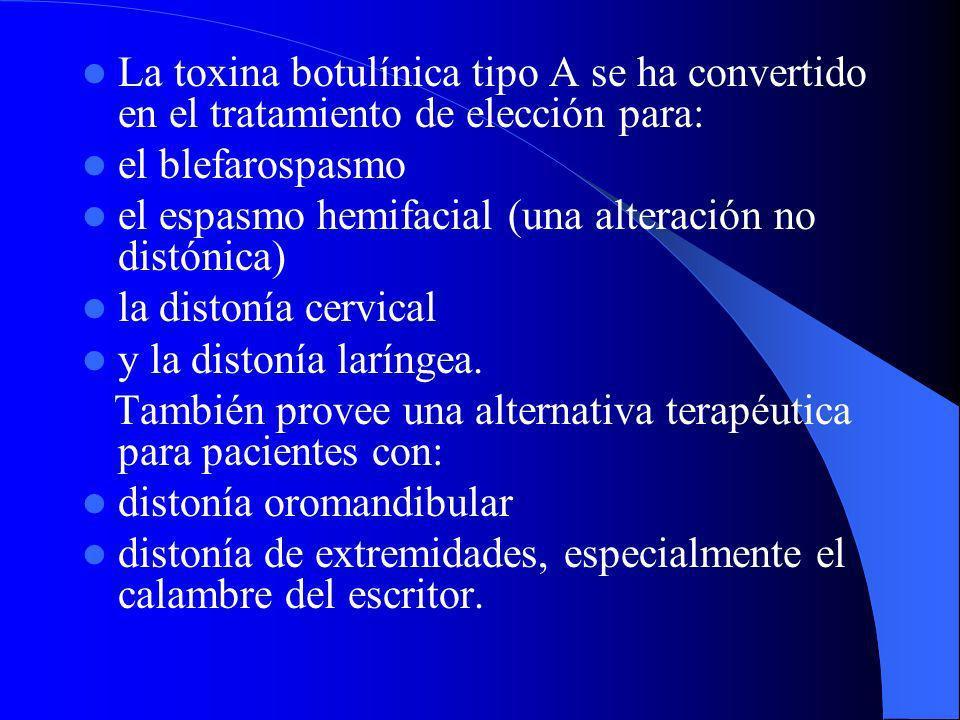 La toxina botulínica tipo A se ha convertido en el tratamiento de elección para: