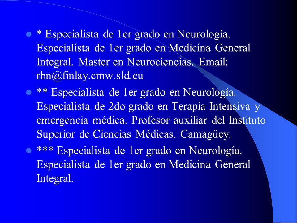 Especialista de 1er grado en Neurología