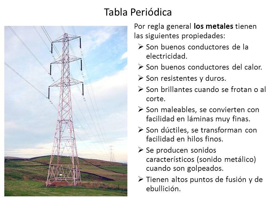 Tabla Periódica Por regla general los metales tienen las siguientes propiedades: Son buenos conductores de la electricidad.