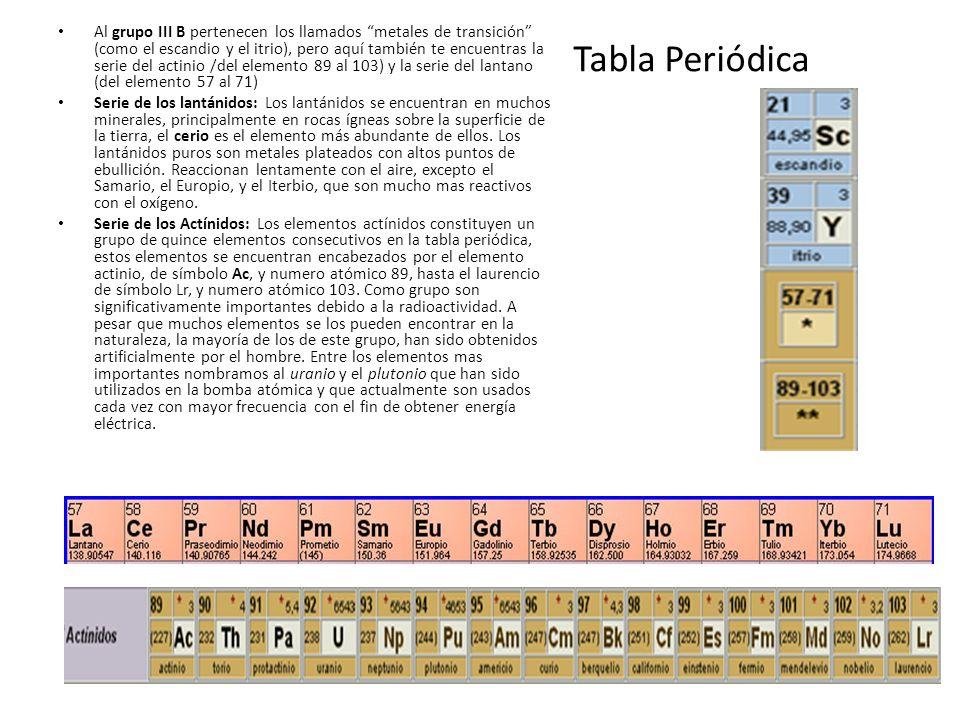 Al grupo III B pertenecen los llamados metales de transición (como el escandio y el itrio), pero aquí también te encuentras la serie del actinio /del elemento 89 al 103) y la serie del lantano (del elemento 57 al 71)