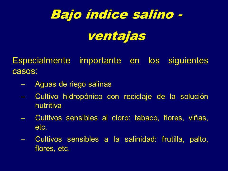 Bajo índice salino - ventajas