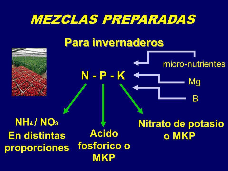 MEZCLAS PREPARADAS Para invernaderos N - P - K NH4 / NO3