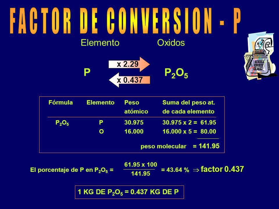 FACTOR DE CONVERSION - P