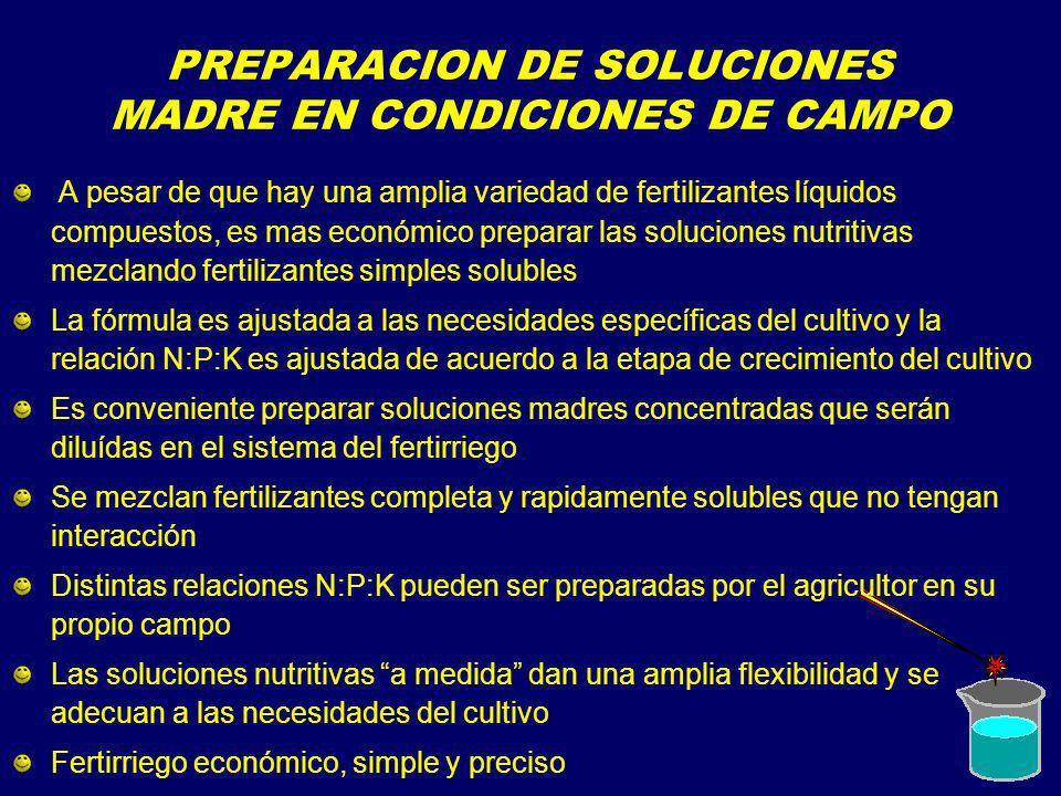 PREPARACION DE SOLUCIONES MADRE EN CONDICIONES DE CAMPO