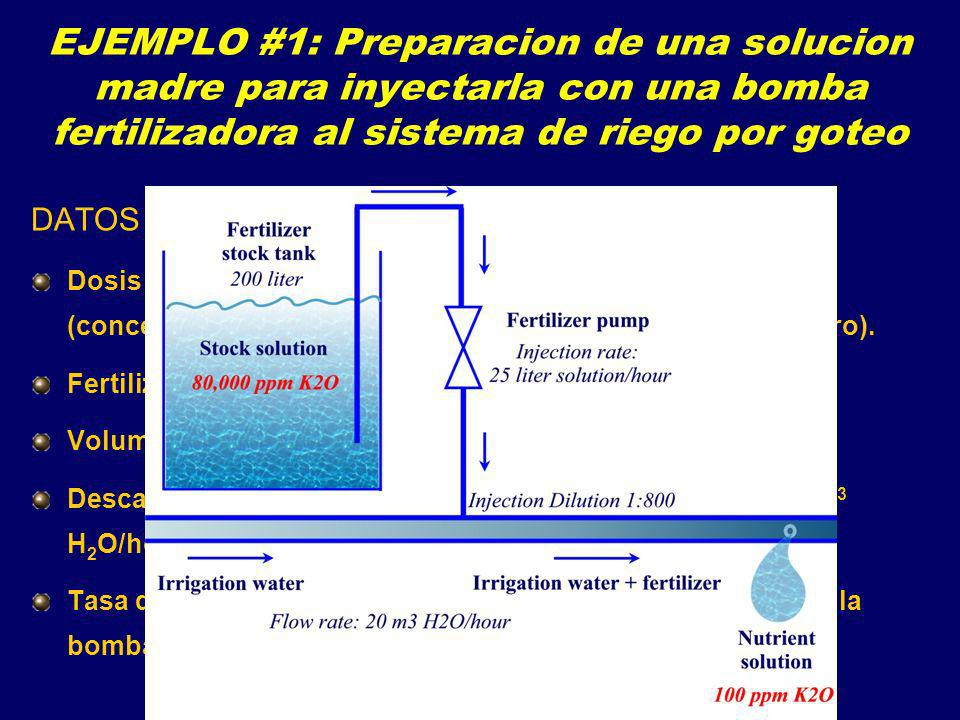 EJEMPLO #1: Preparacion de una solucion madre para inyectarla con una bomba fertilizadora al sistema de riego por goteo
