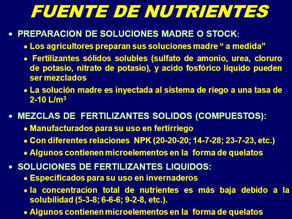 FUENTE DE NUTRIENTES PREPARACION DE SOLUCIONES MADRE O STOCK: