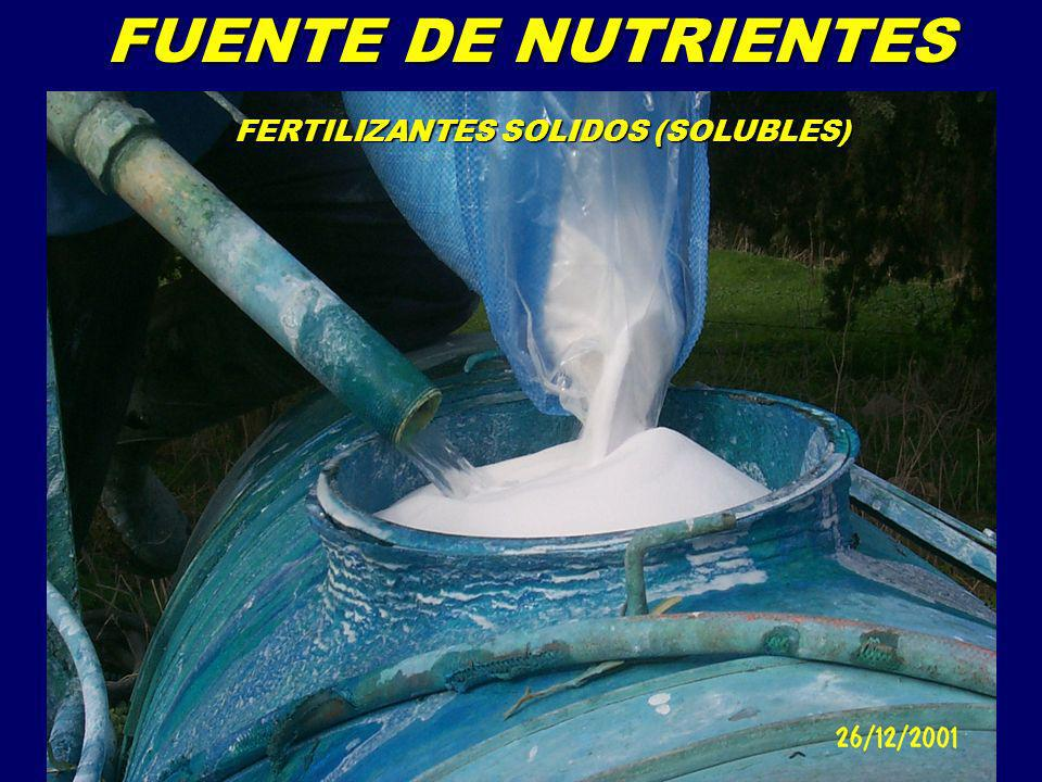 FERTILIZANTES SOLIDOS (SOLUBLES) FERTILIZANTES LIQUIDOS