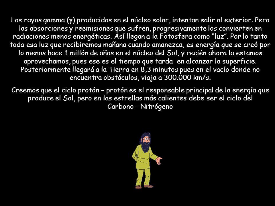 Los rayos gamma (g) producidos en el núcleo solar, intentan salir al exterior. Pero las absorciones y reemisiones que sufren, progresivamente los convierten en radiaciones menos energéticas. Así llegan a la Fotosfera como luz . Por lo tanto toda esa luz que recibiremos mañana cuando amanezca, es energía que se creó por lo menos hace 1 millón de años en el núcleo del Sol, y recién ahora la estamos aprovechamos, pues ese es el tiempo que tarda en alcanzar la superficie. Posteriormente llegará a la Tierra en 8,3 minutos pues en el vacío donde no encuentra obstáculos, viaja a 300.000 km/s.