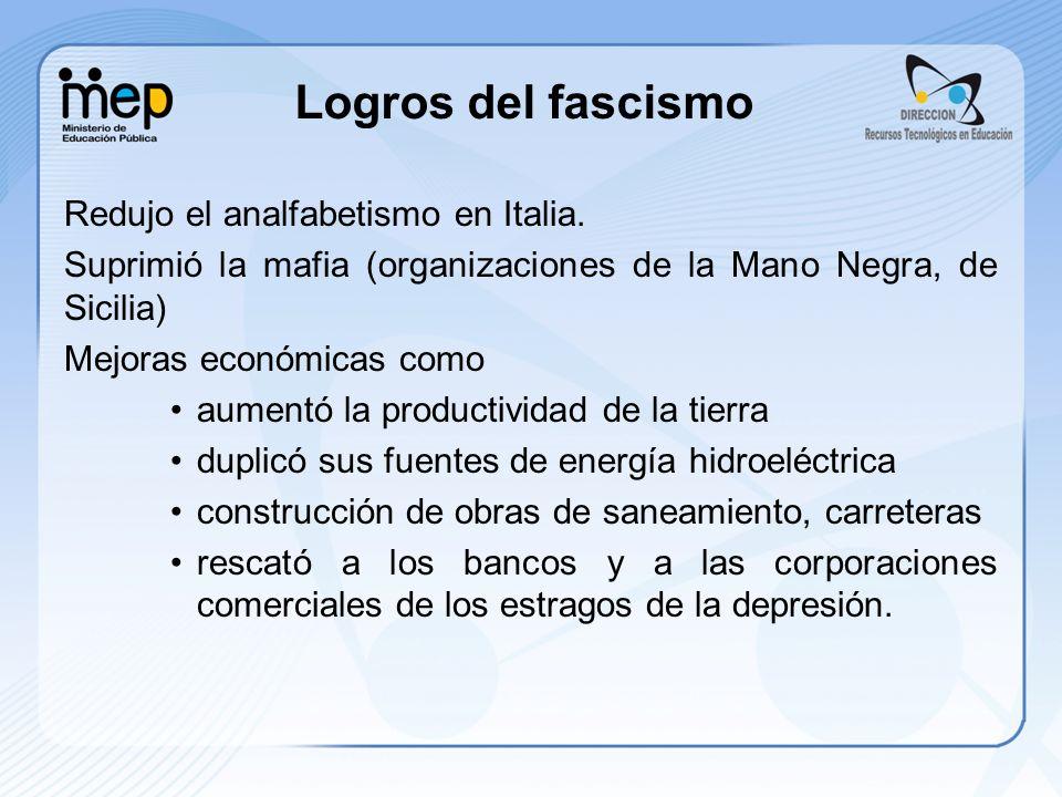 Logros del fascismo Redujo el analfabetismo en Italia.