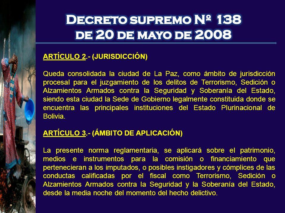 Decreto supremo Nº 138 de 20 de mayo de 2008