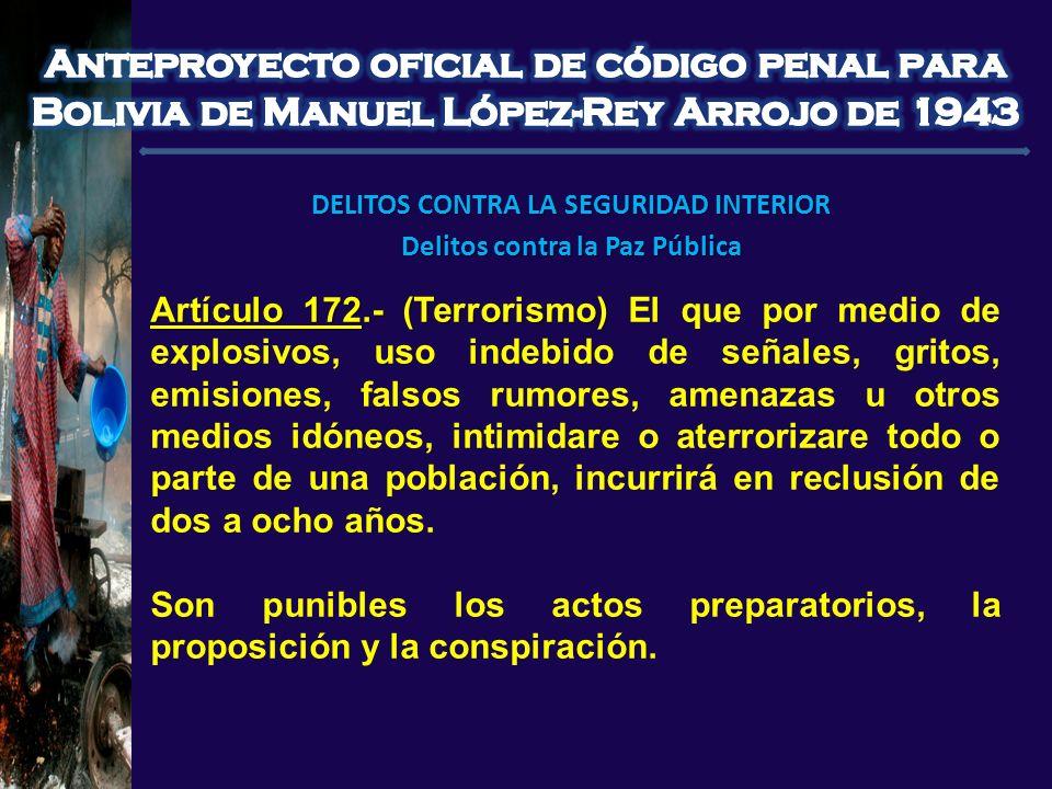 DELITOS CONTRA LA SEGURIDAD INTERIOR Delitos contra la Paz Pública