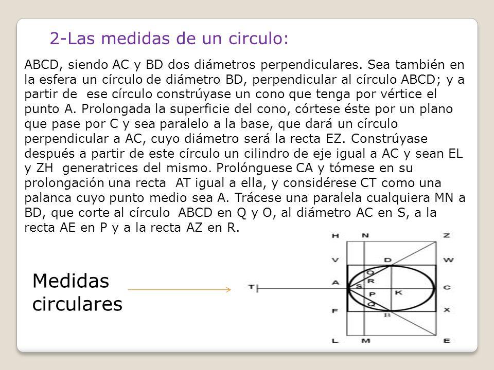 Medidas circulares 2-Las medidas de un circulo: