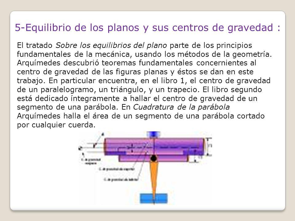 5-Equilibrio de los planos y sus centros de gravedad :