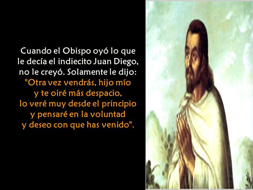 Cuando el Obispo oyó lo que le decía el indiecito Juan Diego,