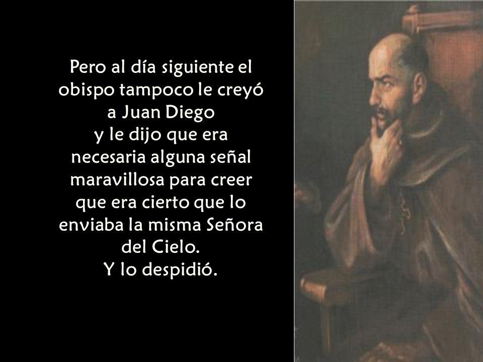 Pero al día siguiente el obispo tampoco le creyó a Juan Diego