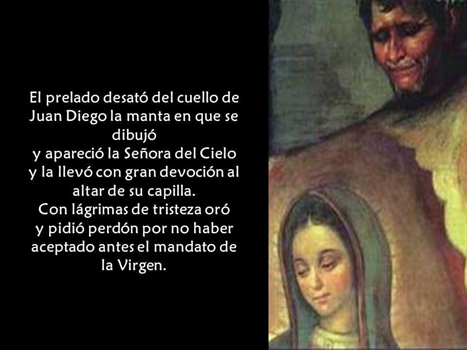 El prelado desató del cuello de Juan Diego la manta en que se dibujó