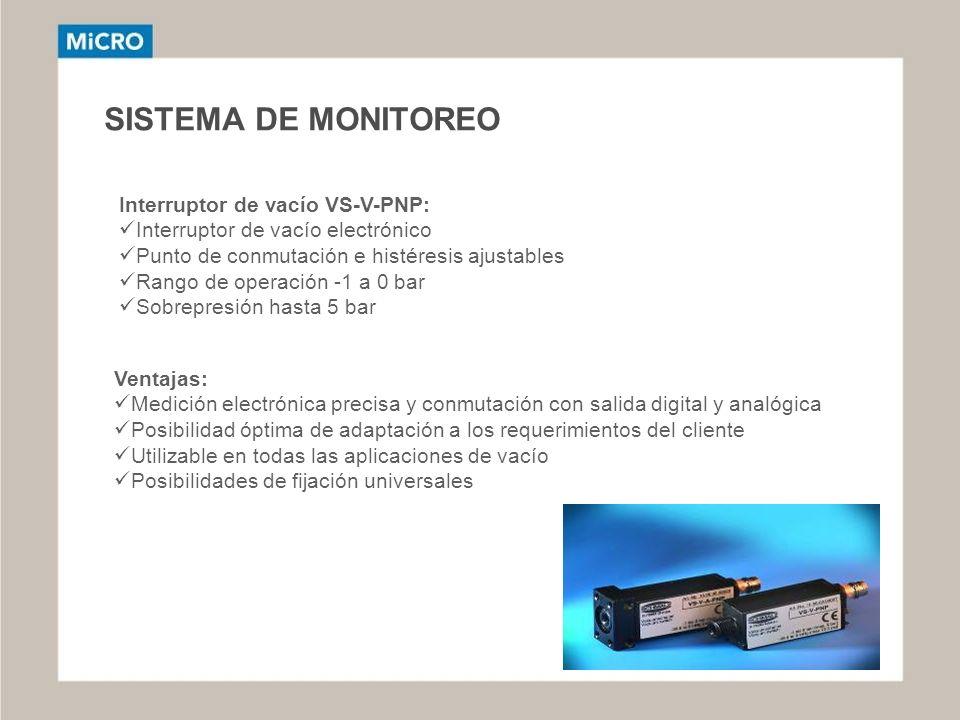 SISTEMA DE MONITOREO Interruptor de vacío VS-V-PNP:
