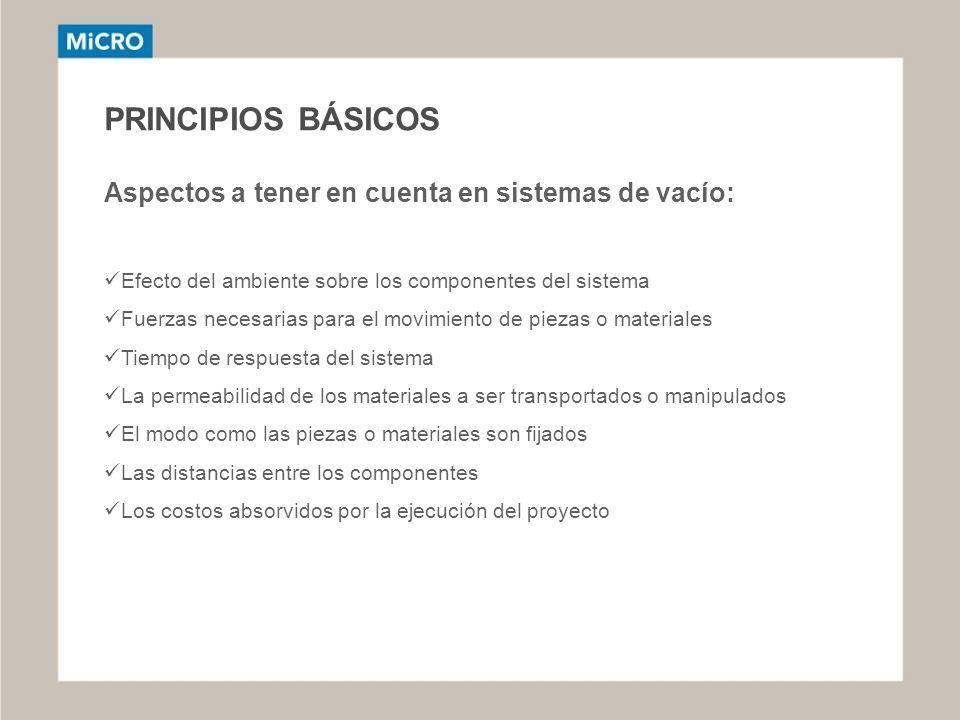 PRINCIPIOS BÁSICOS Aspectos a tener en cuenta en sistemas de vacío: