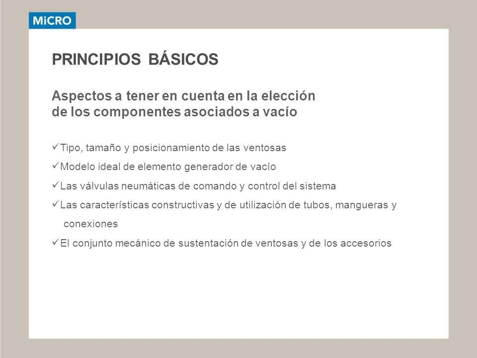 PRINCIPIOS BÁSICOS Aspectos a tener en cuenta en la elección de los componentes asociados a vacío