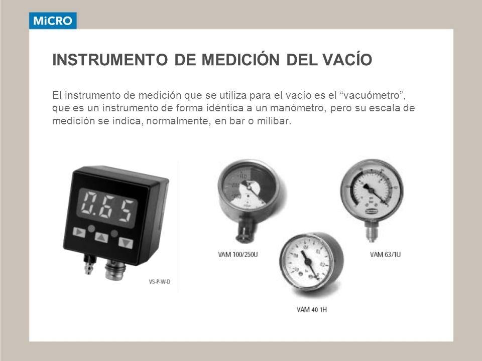 INSTRUMENTO DE MEDICIÓN DEL VACÍO El instrumento de medición que se utiliza para el vacío es el vacuómetro , que es un instrumento de forma idéntica a un manómetro, pero su escala de medición se indica, normalmente, en bar o milibar.