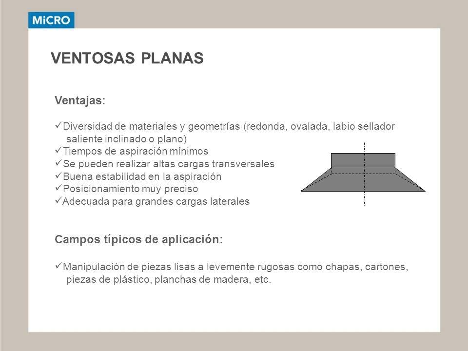VENTOSAS PLANAS Ventajas: Campos típicos de aplicación: