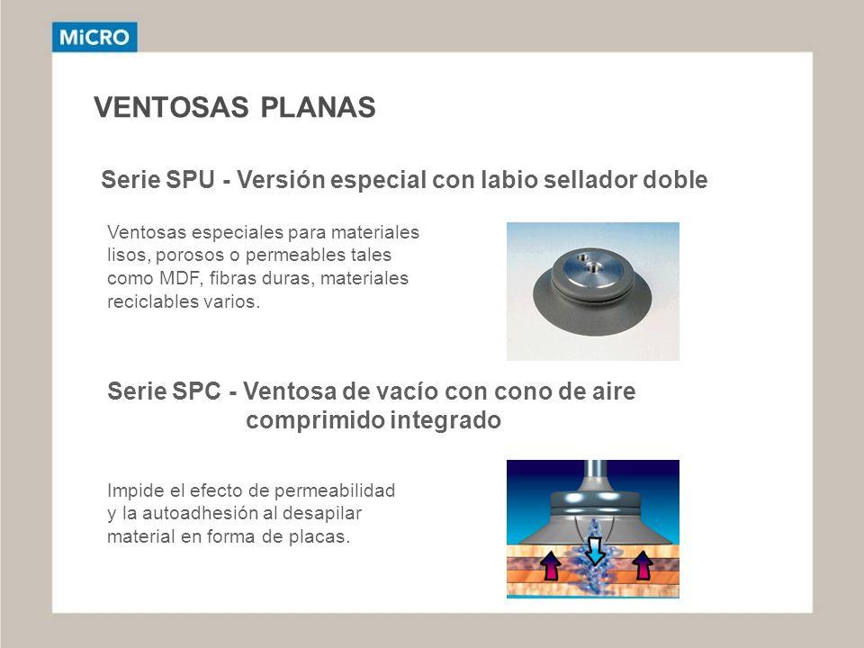 VENTOSAS PLANAS Serie SPU - Versión especial con labio sellador doble