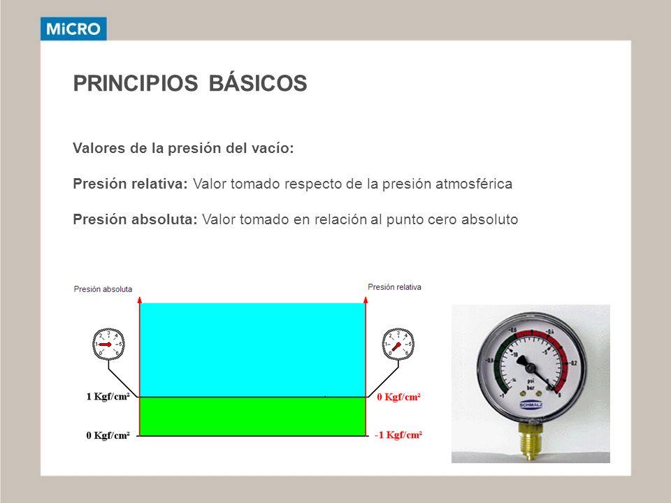 PRINCIPIOS BÁSICOS Valores de la presión del vacío:
