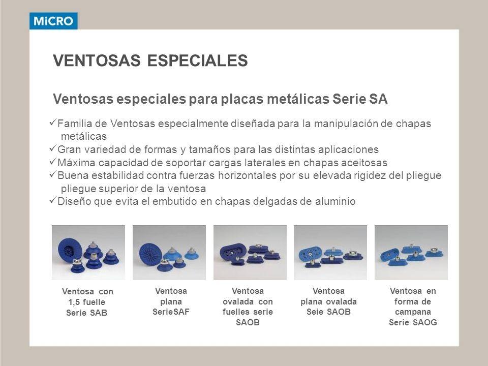 VENTOSAS ESPECIALES Ventosas especiales para placas metálicas Serie SA