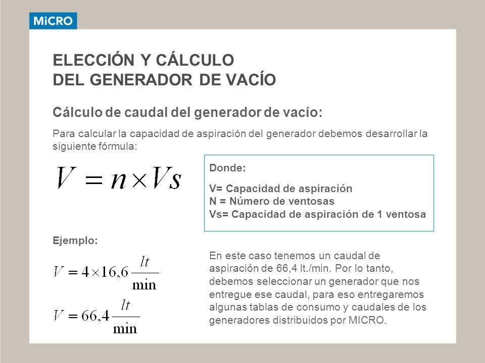 ELECCIÓN Y CÁLCULO DEL GENERADOR DE VACÍO